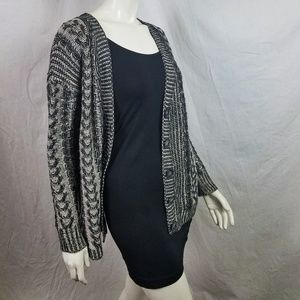 Black + White Oversize Boxy Cardigan Button Up